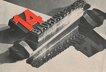 László Moholy-Nagy, prospectus 14 Bauhausbücher, 1929, boekdruk. Collectie Flip Bool.