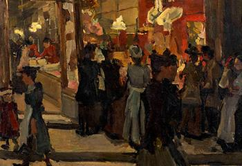 """Isaac Israels, """"Hoedenwinkel Mars op de Nieuwendijk Amsterdam"""" (1893), collectie Groninger Museum"""