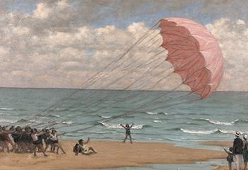 """René-Xavier Prinet, """"Le Parachute sur la plage de Cabourg"""" (z.d.). Beeld: Singer Laren"""