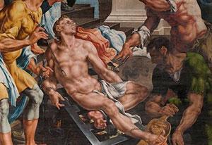 """Maarten van Heemskerck, """"Het Laurentius Altaarstuk"""" (uitsnede), 1538-1542."""