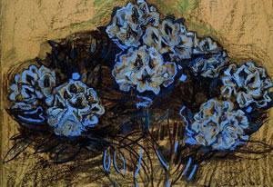 Beeld: Piet Mondriaan, Rhododendrons (1910), houtskool en pastel op papier.