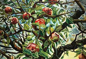 Charley Toorop, 'Takken met appels (detail)', 1952. Olieverf op doek, eigendom van Singer Laren