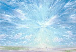 Willem den Ouden, 'Zon boven de Waal' (2006), olieverf op doek.