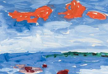 Gerrit Benner, Rode Wolken, Gouche, Collectie Stichting Museum Drachten, 1995-034