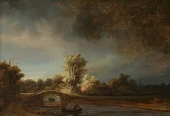 Rembrandt van Rijn, Landschap met stenen brug, ca. 1638. Aankoop met steun van de Vereniging Rembrandt en de heer A. Bredius, Amsterdam