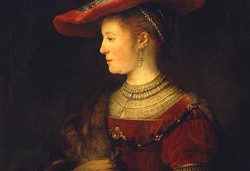 Rembrandt van Rijn, Saskia en profil in rijk gewaad, 1633-1642, olieverf op paneel, Museumslandschaft Hessen Kassel, Gemäldegalerie Alte Meister