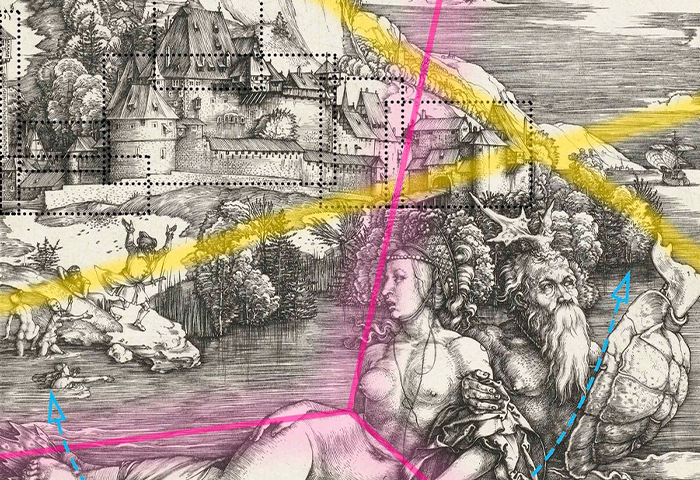 The rape of Amymone by Triton (Dürer), 2020, from the series Compositions synesthétiques. Silkscreened ultrachrome print, 24.8 x 18.9 cm, ed. 6 + 2 AP