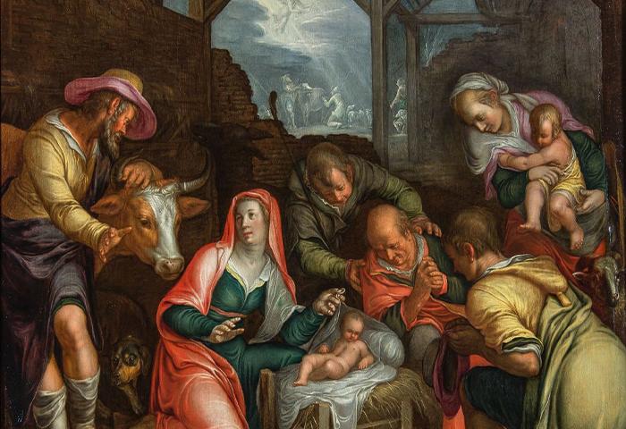 Peter Wtewael, Utrecht, 1596-1660 De Aanbidding der Herders, gesigneerd en gedateerd 1619. Olie op paneel, 66 x 58,4 cm Collectie: Kunsthandel P. De Boer, Amsterdam