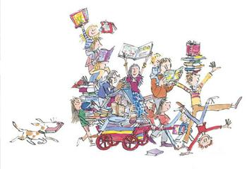 Quentin Blake, 'The Book Cart', 2017. Beeld: Quentin Blake