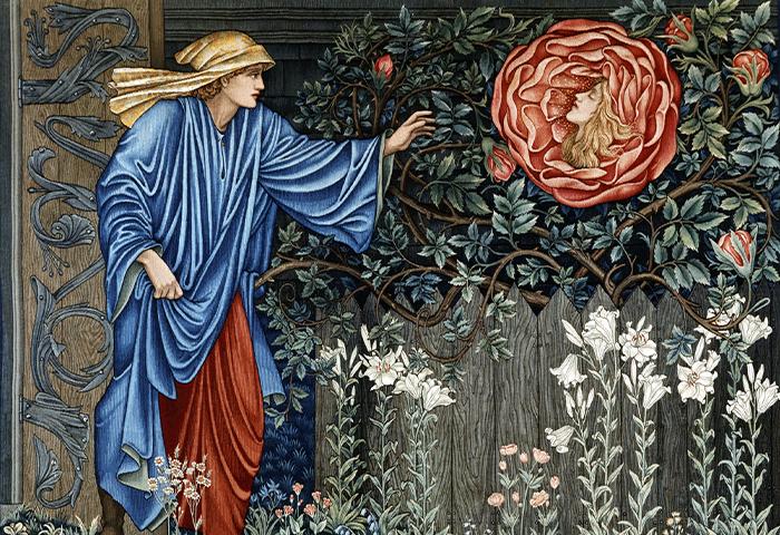Wandkleed The Pilgrim in the Garden (De pelgrim in de tuin) naar ontwerp van Edward Burne-Jones, Merton Abbey, Badisches Landesmuseum Karlsruhe