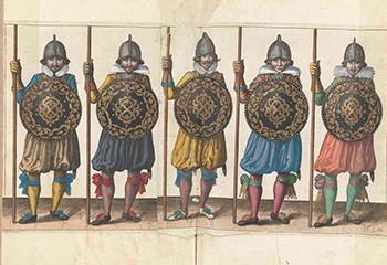 """Adam van Breen, """"De exercitie met schild en spies, plaat 31 uit De Nassausche wapen-handelinge...' (1618). Beeld: Rijksmuseum"""