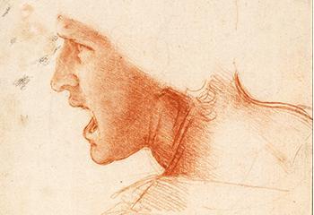 """Afbeelding: Leonardo Da Vinci (1452-1519)Studie van hoofd van een soldaat voor de Slag bij Anghiari.Collectie Szépművészeti Múzeum (""""Museum voor Schone Kunsten""""), Boedapest"""