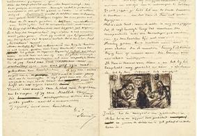 Brief van Vincent van Gogh aan Theo van Gogh met schets van De aardappeleters (recto)  Vincent van Gogh, 9 april 1885