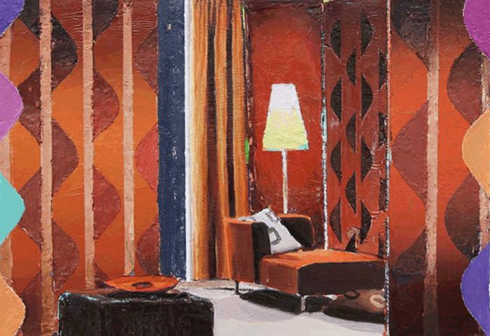Matthias Weischer, 'Bulb', 2020, olieverf op canvas, collectie Drents Museum verworven dankzij steun van de Stichting Vrienden van het Drents Museum
