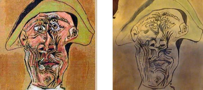 Beeld: origineel Tête d'Arlequin en gevonden schilderij. Bron: NOS