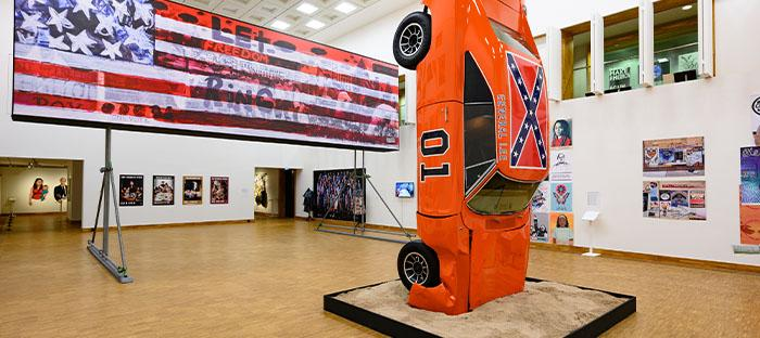 Installation view 'This Is America | Art USA Today', Kunsthal KAdE 2020. Hank Willis Thomas, A Suspension of Hostilities, 2019. For Freedoms' 50 State Initiative, 2018. Photo: Peter Cox
